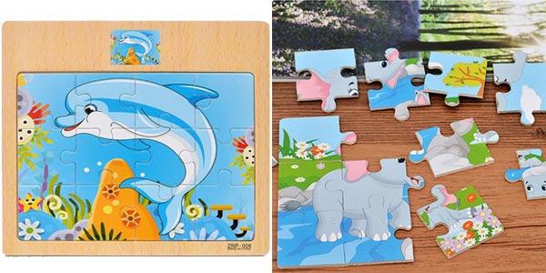 Mini puzles de madera infantiles chollazo en AliExpress