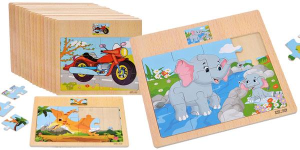 Mini puzles de madera infantiles baratos en AliExpress
