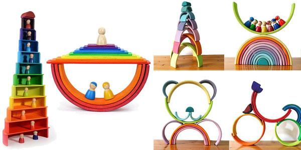 Set de Juguetes de construcción de madera para bebés chollo en AliExpress