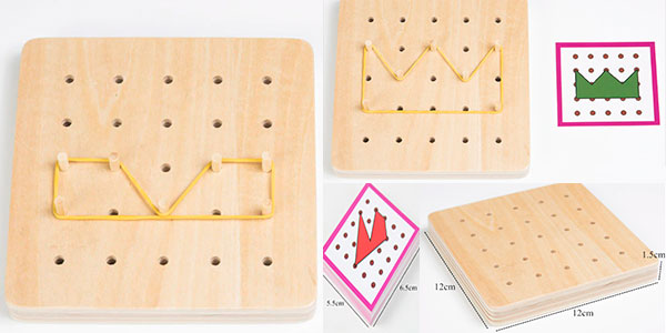 Tablero creativo Montessori de madera para hacer figuras barato