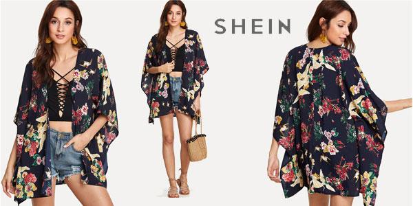 Kimono corto SheIn de mangas dolman barato en AliExpress