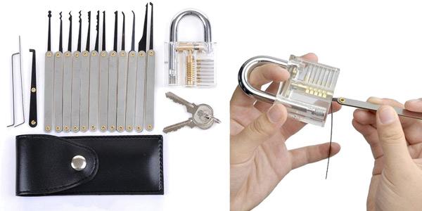 Kit herramientas para abrir candados con candado transparente para practicar barato en Banggood