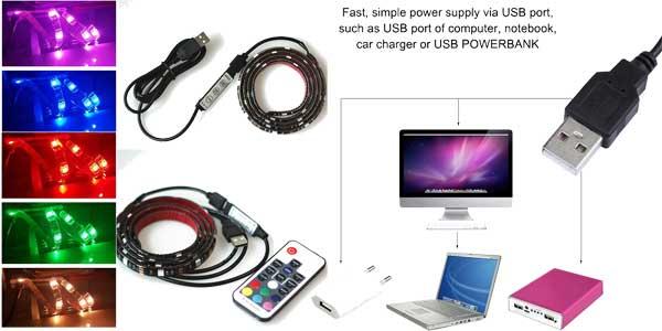 Kit de iluminación LED con conexión USB con selección de color