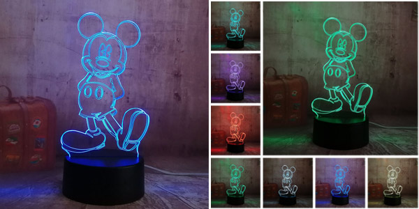 Lámpara LED 3D de Mickey Mouse barata en AliExpress