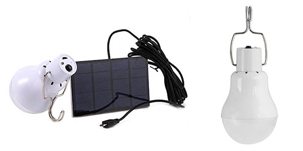 lampara led recargable panel solar gancho para colgar