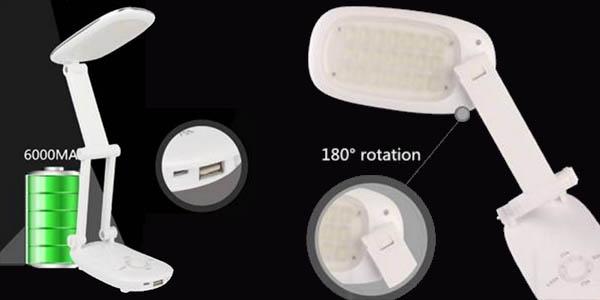 Lámpara de escritorio LED plegable y recargable