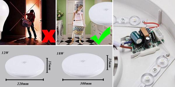 Plafón LED con sensor de movimiento chollazo en AliExpress