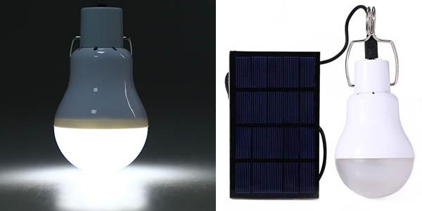 lampara portatil camping LED con cargador solar barata