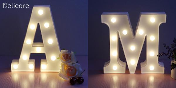 Lámparas LED con forma de letras