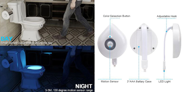 Luz LED con sensor para inodoro chollo en AliExpress