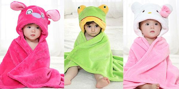 Manta para bebés con capucha de animales rebajada
