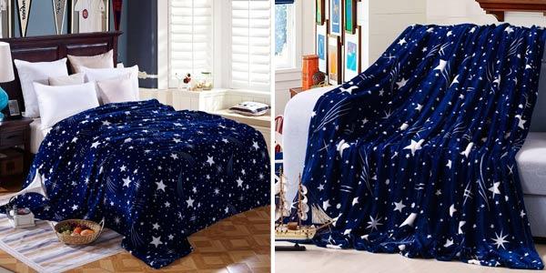 Manta de franela suave con estampado de cielo estrellado en varios tamaños barata en AliExpress