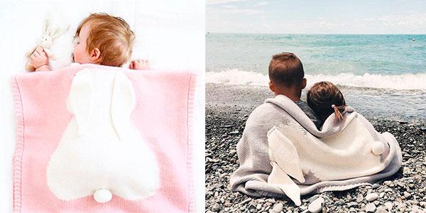 Manta con silueta de conejito para bebé en oferta