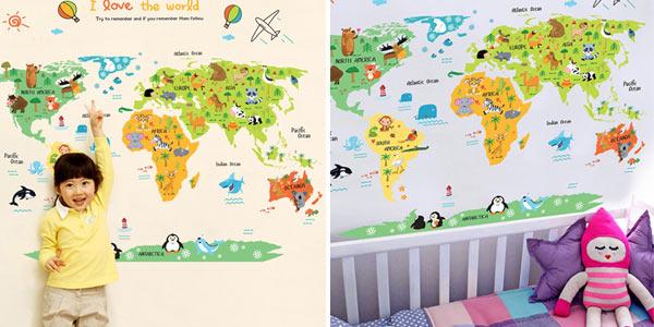Vinilo adhesivo mapamundi infantil barato en AliExpress