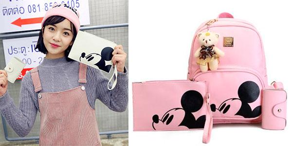 Pack Mochila + Cartera + Tarjetero de Mickey de cuero sintético en 3 colores para niña en oferta