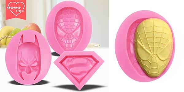 Pack moldes silicona repostería Superhéroes