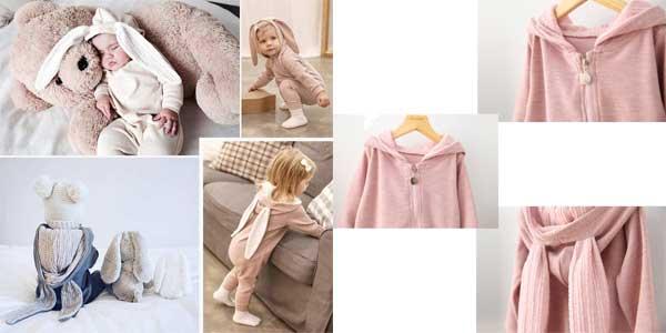 Mono de algodón Little J para bebé estilo conejito baratos en AliExpress