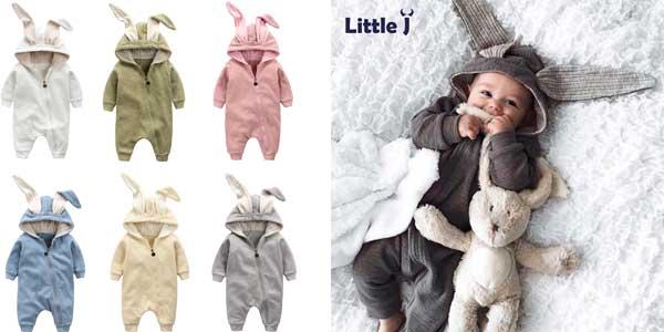 Mono de algodón para bebé estilo conejito