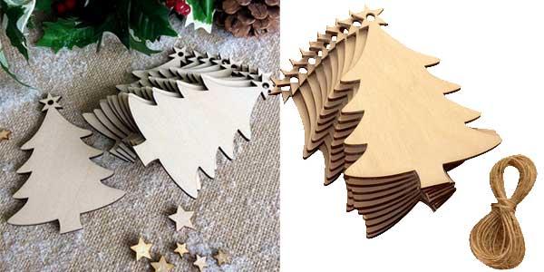 Pack 10 arbolitos de madera de decoración navideña barato en AliExpress