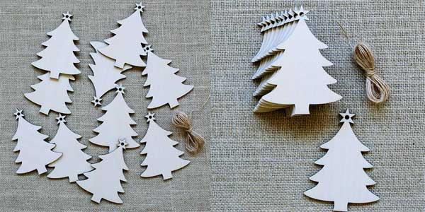 Pack 10 arbolitos de madera de decoración navideña chollo en AliExpress