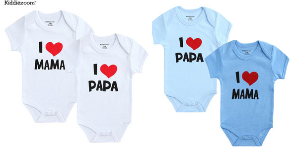 "Pack 2 bodys Kiddiezoom ""I Love Papa"", ""I Love Mama"" baratos en AliExpress"