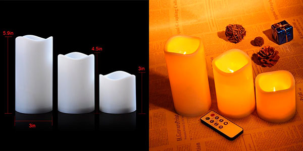Pack de 3 velas LED decorativas con mando a distancia en oferta