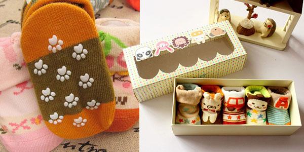 Pack de 5 calcetines divertidos para recién nacido barato