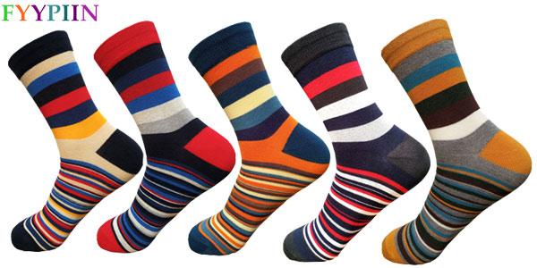 Pack 5 pares de calcetines para hombre a rayas multicolor