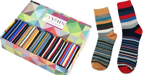Pack 5 pares de calcetines para hombre a rayas multicolor barato