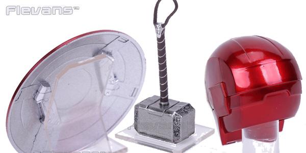 Miniaturas del escudo del Capitán América, Martillo de Thor y casco de Iron Man en AliExpress