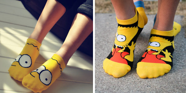 Pack 4 Pares de Calcetines tobilleros de Los Simpsons para mujer chollo en AliExpress