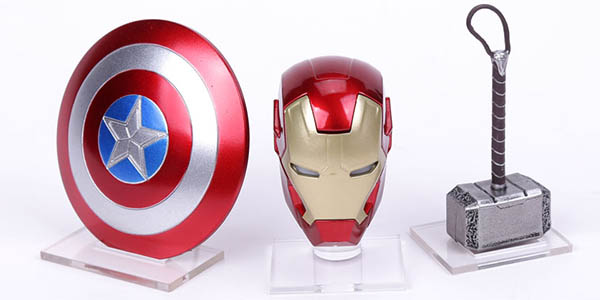 Pack escudo del Capitán América, Martillo de Thor y casco de Iron Man