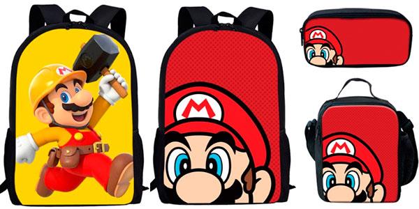 Pack mochila, estuche y bolsa de comida de Super Mario barato