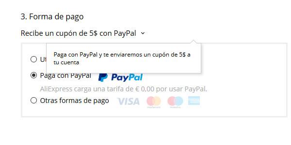 Descuentos de PayPal para AliExpress