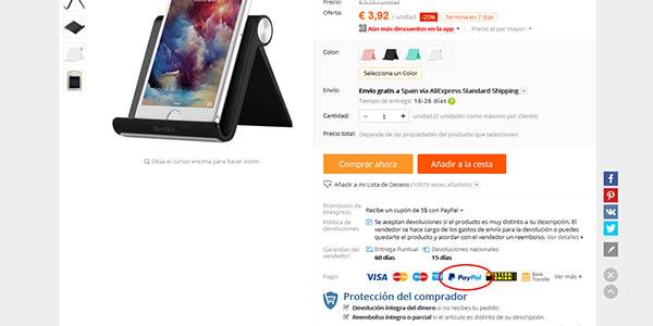 Icono de PayPal en AliExpress