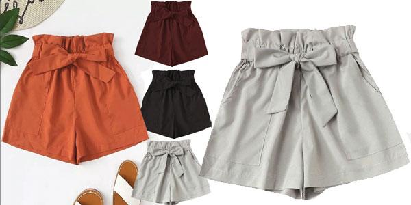 Pantalones cortos de tiro alto para mujer baratos en AliExpress