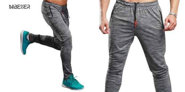 Pantalón deportivo Nibesser largo para hombre en color gris barato en AliExpress