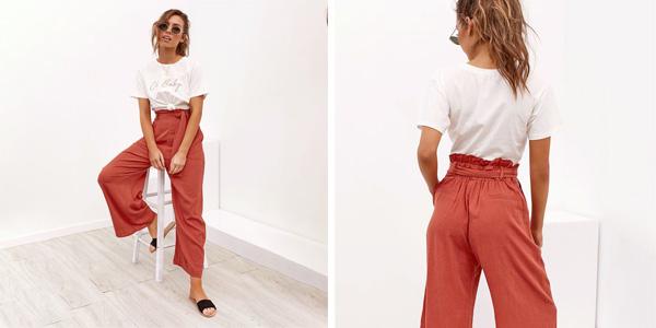 Pantalón de lino para mujer con cintura alta chollo en AliExpress