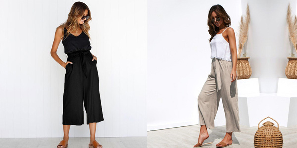 Pantalón de lino para mujer con cintura alta chollazo en AliExpress