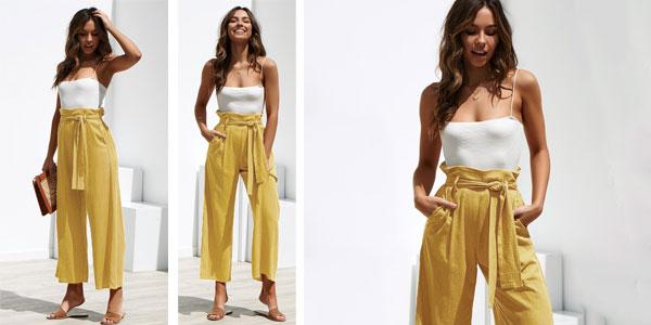 Pantalón de lino para mujer con cintura alta barato en AliExpress