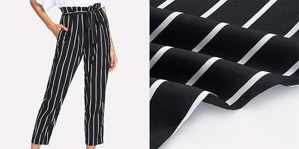Pantalones a rayas con cintura alta para mujer baratos