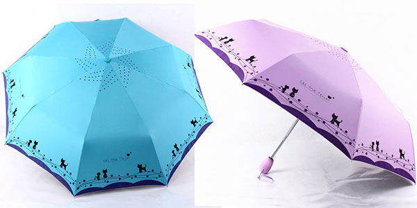 Paraguas plegable para mujer estampado barato