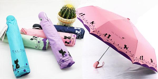 Paraguas plegable para mujer con gatos rebajado