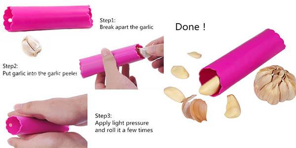pelar ajos sin mancharse las manos con pelador de silicona para cocina