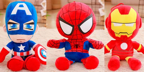 Peluches de Capitán América, Iron Man y Spiderman de 25 cm en oferta