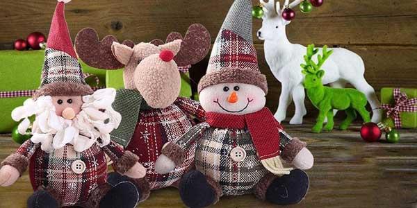 Peluches navideños Reno, Papa Noel o Muñeco de Nieve