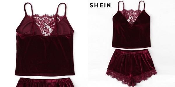 Pijama corto de terciopelo Shein en rojo burdeos para mujer chollo en AliExpress