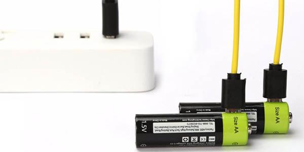 Pack pilas recargables ZNTER AA por USB barato