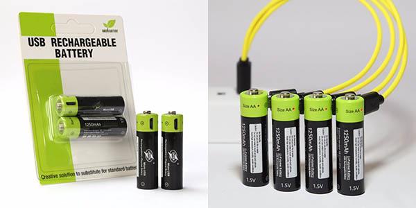 Pilas recargables ZNTER AA de 1,5 V y 1.250 mAh