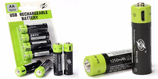 Pilas recargables AA 1.5 V de 1250 mAh por USB
